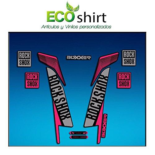 Ecoshirt 4E-5PW5-UGU1 Aufkleber Fork Rock Shox Boxxer World Cup 2016 Am77 Aufkleber Decals Sticker Gabel Rosa Grau
