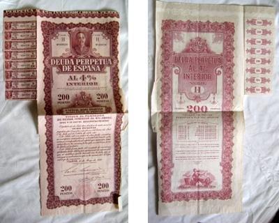 DEUDA PERPETUA DE ESPAÑA al 4% Interior. Serie H. 200 pesetas. 1930