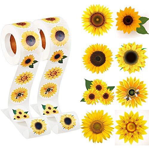 Sunflower Stickers, 1.5 Inch Sunflower Labels with 8 Sunflower Patterns Summer Sunflower Stickers Rolls Self Adhesive Seals for Christmas Thanksgiving Party Decor Scrapbooking Cards Envelopes (1000 Pieces)
