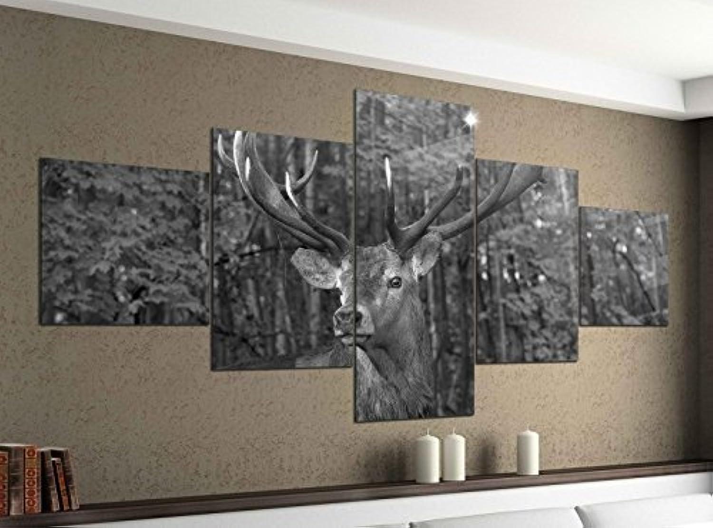 Leinwandbild 5 tlg. tlg. tlg. 200cmx100cm Hirsch Geweih wild Wald Tier schwarz weiß Bilder Druck auf Leinwand Bild Kunstdruck mehrteilig Holz 9YA1889, 5Tlg 200x100cm 5Tlg 200x100cm B075HTS98R 0971c8