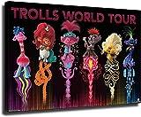 LIYIMING Trolls World Tour6 Póster decorativo, lienzo para pared, salón, póster, dormitorio, pintura (con marco, 50 x 75 cm)