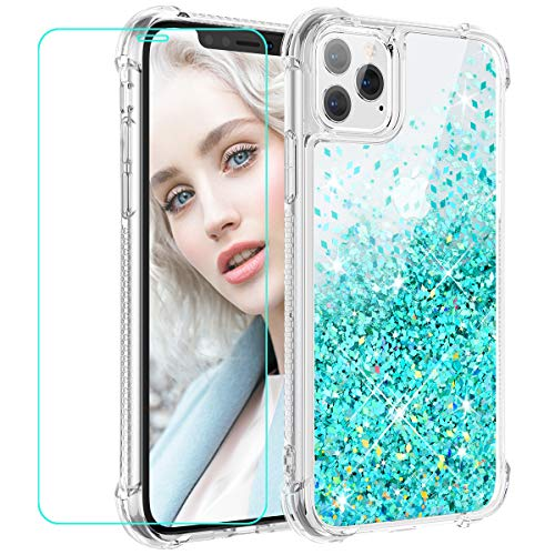 Maxdara Case for iPhone 11 Pro Max Case Glitter Liquid for Girls Women (Screen Protector) Bling Sparkle Luxury Fashion Soft TPU Protective Case for iPhone 11 Pro Max 6.5 inches (Teal)