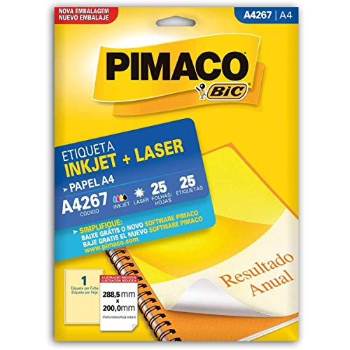 Etiqueta Ink-Jet/Laser Papel A4 288.5X200, BIC, Pimaco, 874992, Branca, 25 Etiquetas