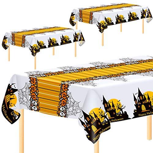Aneco 3 Stück Halloween-Party-Tischdecken Tischdecken Einweg-Tischdecken Happy Halloween Kunststoff Tischdecke Tischdecken 137 x 274 cm für Halloween Party Dekoration Supplies