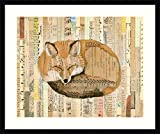 Framed Wall Art Print Red Fox Collage III by Nikki Galapon 30.00 x 25.12 in.