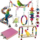 Juguetes para Pajaros, 8 Piezas Juguete de Ave Colorida para Masticar Pájaros Columpios de Juguete Juguetes, Colgar Juguetes de Jaula de Pájaros o Pequeños Periquitos Cockatiels Conure Guacamayos