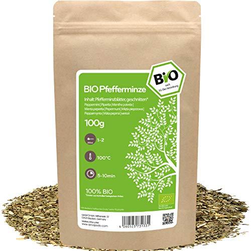 amapodo Bio Pfefferminze Tee lose 100g Pfefferminzblätter geschnitten für Pfefferminztee
