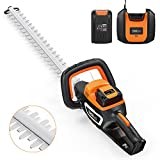 TACKLIFE Cordless Hedge Trimmer, 40V 2.5 Ah, with Samsung Battery and Fast Charger, 550 mm Blade Length , 20 mm cutting capacity, Laser Ground Diamond Blade & Blade Cover -GHT1B