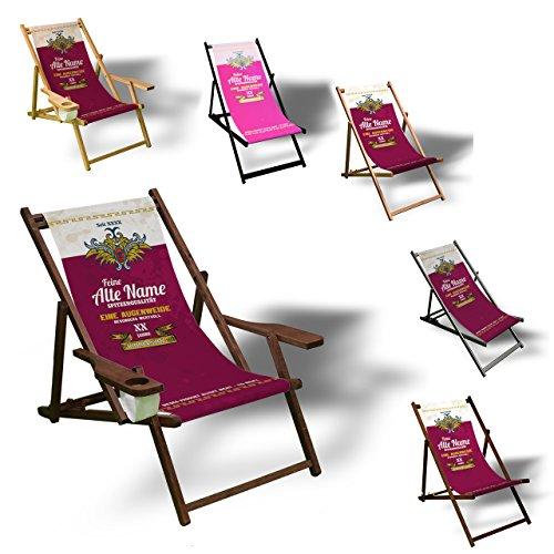 Printalio - Wunschtext - Geburtstag Frauen - Liegestuhl Bedruckt Balkon Garten Sonnenliege Relax Holz Terrasse | mit Armlehne, Natur