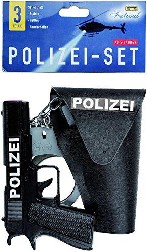 Idena 8040007 Kit de Jeu Police 3 pièces avec Pistolet, étui et Menottes