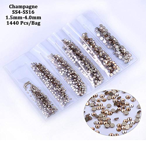 Piner Glass Nail Rhinestones For Nails Art Decorations Crystals Strass Charms Partition Mixed Size Rhinestone Set, Champagne