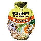 Keasmto 3D Ramen Chicken Noodle Soup Hoodies Sweatshirts for Men Women Cotton Cute Tag L