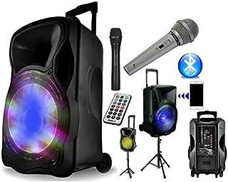 PACK DJ ENCEINTE MYDJ SONO 600W KARAOKE PORTABLE - PIED - MICRO SANS FIL - FIL - BLUETOOTH USB SD