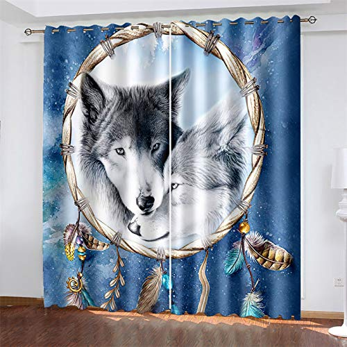 YUNSW 3D Digital Printing Curtains, Polyester Blackout And Noise Reduction Curtains, Perforated Wolf Pattern Curtains, Suitable For Bedroom And Living Room (Total Width) 280x(Height) 260cm