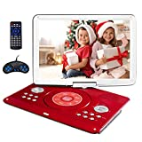 16.9' Portable DVD Player with 14.1' Large Swivel Screen, Kids DVD Player Portable for Travel with 5 Hrs Rechargeable Battery, Portable Video Player Sync TV, Support USB SD Card with Car Charger (Red)