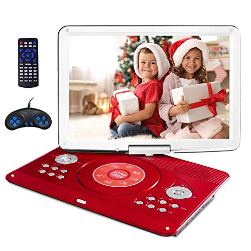 """16.9"""" Portable DVD Player with 14.1"""" Large Swivel Screen, Kids DVD Player Portable for Travel with 5 Hrs Rechargeable Battery, Portable Video Player Sync TV, Support USB SD Card with Car Charger (Red)"""