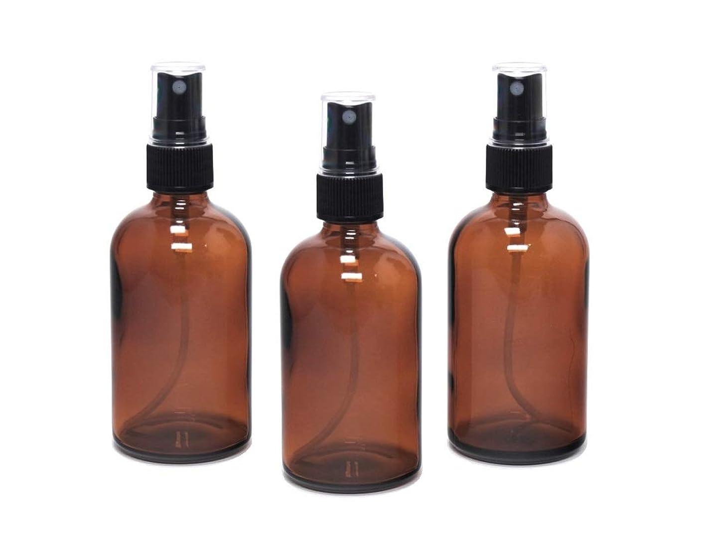 指定はがきメンタル遮光瓶 蓄圧式ミストのスプレーボトル 100ml アンバー(茶色) / ( 硝子製?アトマイザー )ブラックヘッド × 3本セット / アロマスプレー用