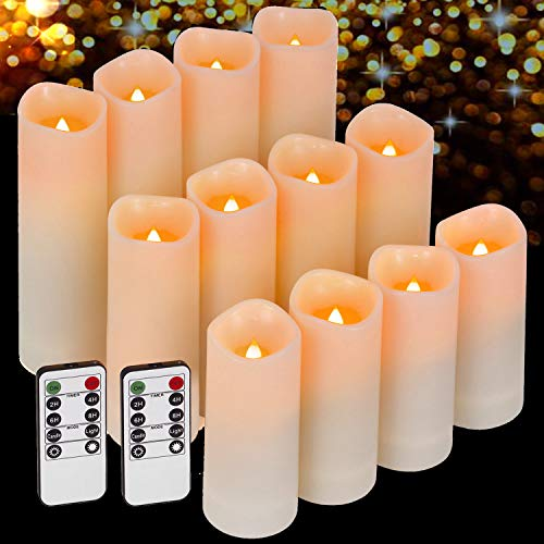 Enido Flameless Candles Led Candles Pack of 12 Battery Candles (D2.15'' x H4''5''6'') Waterproof Outdoor Indoor Candles with 10-Key Remotes and Cycling 24 Hours Timer (Plastic)