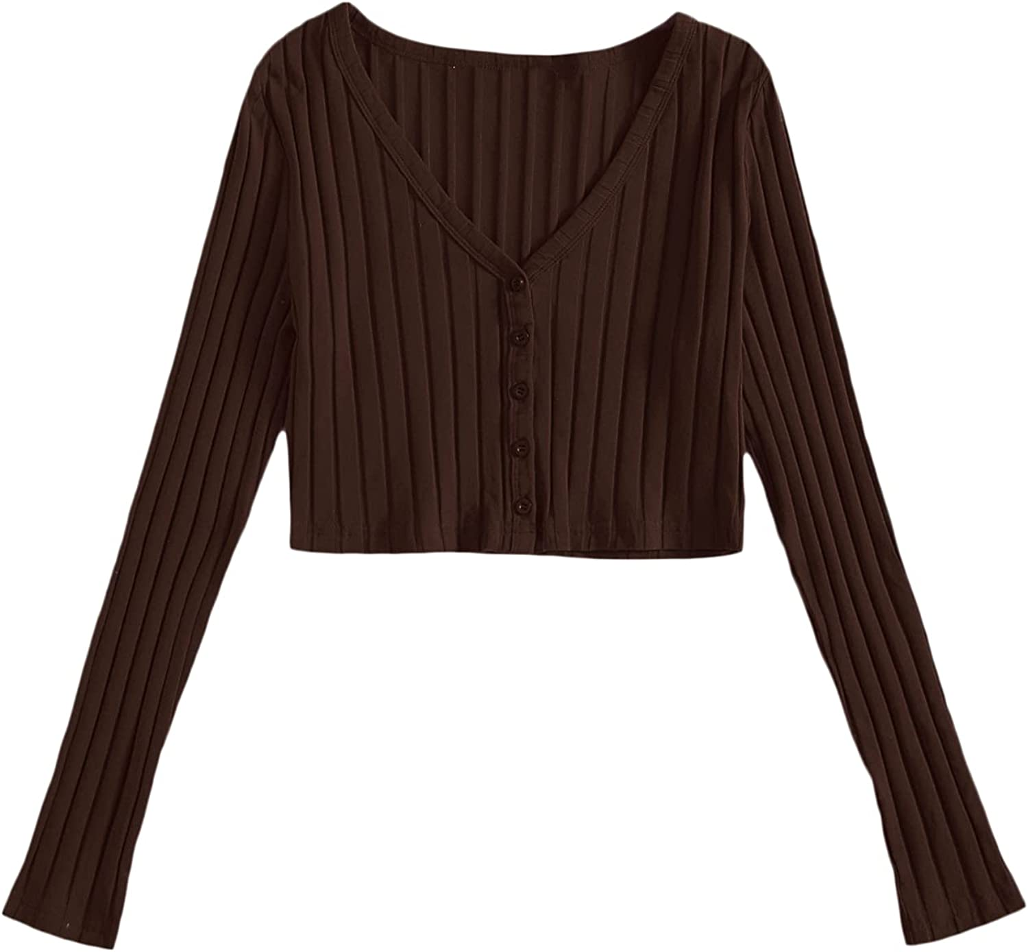 Floerns Women's Solid Button Down Long Sleeve V Neck Knit Cardigan Crop Tops