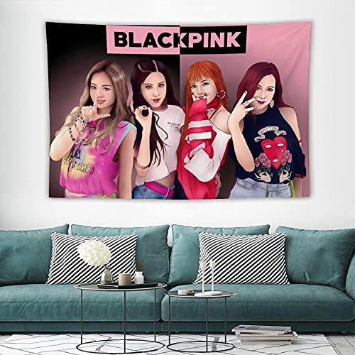 Kpop Wandbehang, 3D gedruckt, bl-ack rosa Wandkunst, Anime-Tapisserie, Vorhänge, Wanddekoration für Wohnzimmer, Schlafzimmer, 152,4 x 101,6 cm