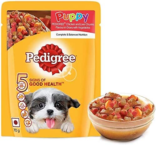 Pedigree Puppy Wet Dog Food, Chicken And Liver Chunks Flavour in Gravy with Vegetables, 15 Pouches (15x70g)