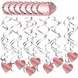 30 Piezas Remolinos Colgantes de Techo, Decoración Colgante Espiral de Oro Rosa, Remolino Colgante Decoraciones Corazón, Serpentinas Adornos Espirales de Fiesta para Aniversarios Bodas, 2 Estilos