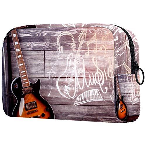 Makeup Bag Travel Cosmetic Bag Pouch Purse Handbag with Zipper - Front View Guitar