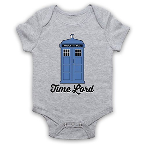 My Icon Art & Clothing Time Lord Tardis Dr Sci Fi TV Show Babystrampler, Grau, 12-18 Monate