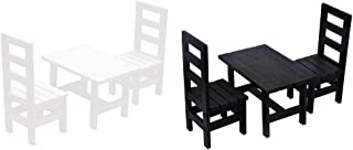 Baosity 2 Set 1/6 Dollhouse Mini Oblong Dining Room Table Chairs Set Kitchen Furniture Accessories
