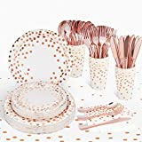 Rose Gold Birthday Party Supplies, Party Plates and Napkins Sets for 25, Including Tablecloth, Paper Plates, Napkins, Cups and Silverware for Girls Bridal Shower, Sweet 16 - 176PCS