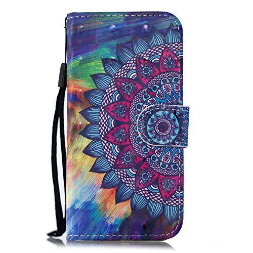 ChoosEU Compatibile con Cover Samsung Galaxy A10 2019 in Pelle Flip Custodia Libro Pelle PU Silicone Morbide Disegni Colorate Case Antiurto Protettiva Supporto Stand Porta Carte - Mandala