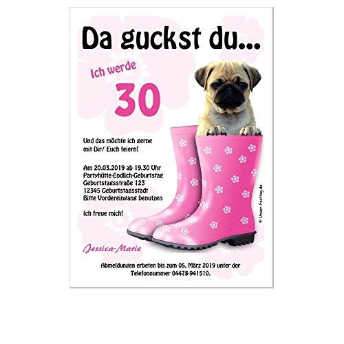 Einladungen zum Geburtstag, für jedes Alter möglich, lustig witzig 30 40 50 60 70, 10 Karten - 17 x 12 cm