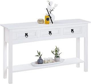 IDIMEX Table Console Rural Table d'appoint rectangulaire en pin Massif Blanc avec 3 tiroirs et 1 étagère, Meuble d'entrée ...