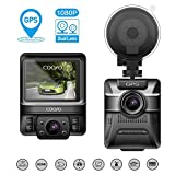 COOFO Dual Lens Dash Cam Built-in GPS for Cars, Car DVR Dashboard Camera Recorder with Full HD 1080P, 150 ° Wide-Angle Lens, 2.4' LCD, G-Sensor, WDR, Parking Monitoring and Night Vision