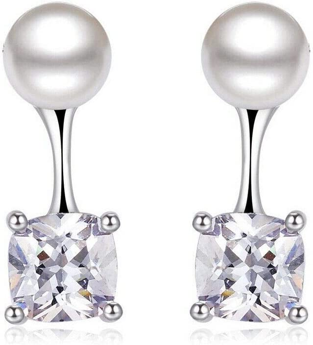 18K Gold Ranking TOP10 Cheap mail order sales Plated Pearl Cz Bead Jacket Sided Double Earring Square