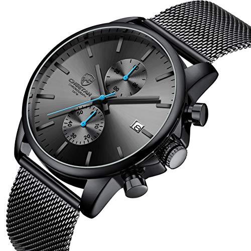 Men's Watch Fashion Sport Quartz Analog Mesh Stainless Steel Waterproof Chronograph Watches, Auto...
