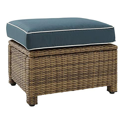 "Crosley Furniture Bradenton 25"" Fabric Outdoor Ottoman in Navy/Brown"