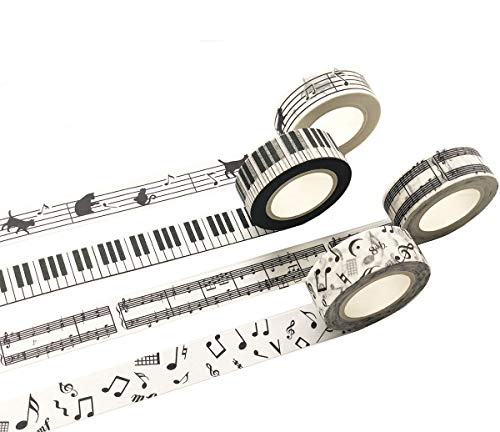 Black and White Piano Note Melody Keyboard Cat Staff Notenblock Musik Washi Tape Set von 4 Rollen – Dekoratives DIY Japanisches Masking Scrapbook Notizbuch Planer