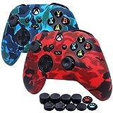 Jusy Xbox Series X/S - Juego de 2 fundas de silicona suave, a prueba de sudor, antideslizante, funda protectora para Xbox Series X/S, con 10 empuñaduras para pulgar (rojo+azul)