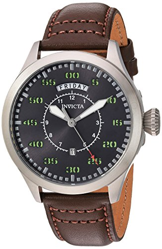 Invicta Relógio Masculino Aviator 45 mm de Aço Inoxidável e Couro Quartzo, Marrom (Modelo: 22973)