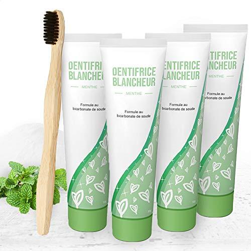 Confezione di 4 Dentifrici sbiancante denti per la pulizia denti al bicarbonato di sodio con spazzolino bamboo. Dentifricio sbiancante rimuovi tartaro e placca denti per proteggere lo smalto denti