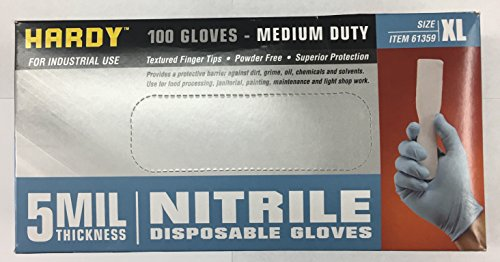 Hardy (68498) 5 Mil Nitrile Powder-Free Gloves 100 Pc Xlarge 5