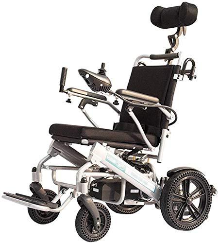 Elektrische Rollstühle für Erwachsene Faltbare Leichte Elektro-Rollstuhl mit Joystick-Kopfstütze, nur 2kg mit Li-Ion-Akku, 100 kg Nutzlast, Honeycomb Reifen for ältere und behinderte Menschen, Singlel