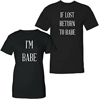 !!!!!!! - Couple Shirts - If Lost Return to Babe & I'm Babe - Matching Couples T-Shirt Set