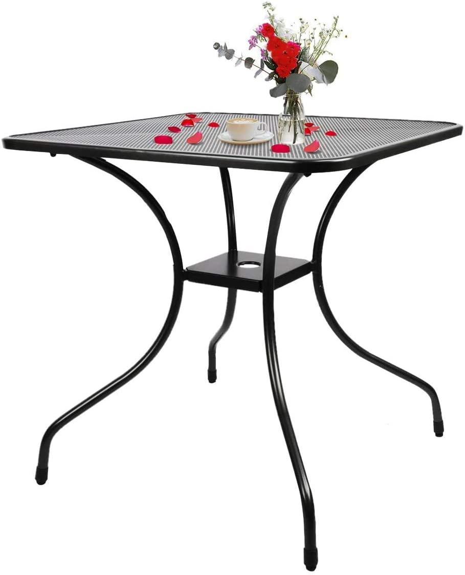 BANIROMAY Outdoor Patio Bistro Dining Table with 1.6 Inch Umbrella Hole, 28 Inch All Weather Modern Cast Iron Balcony Garden Furniture Coffee Table (27 x 27 x 28 Inch)
