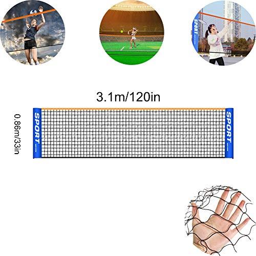 Badmintonnetz, einfach einzurichtendes Volleyballnetz, tragbares Netz für Tennis, Fußballtennis, Pickleball, Kinder-Volleyball, einfach einzurichtendes Nylonsportnetz ohne Stangen, für Innen- oder