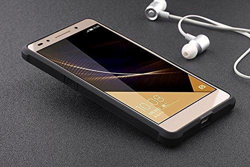 Schutzhülle Huawei Honor 7 Hülle, Business Serie Stoßfest Ultra Dünn Weich Silikon Rückseite Fall für Huawei Honor 7 (Schwarz) - 6