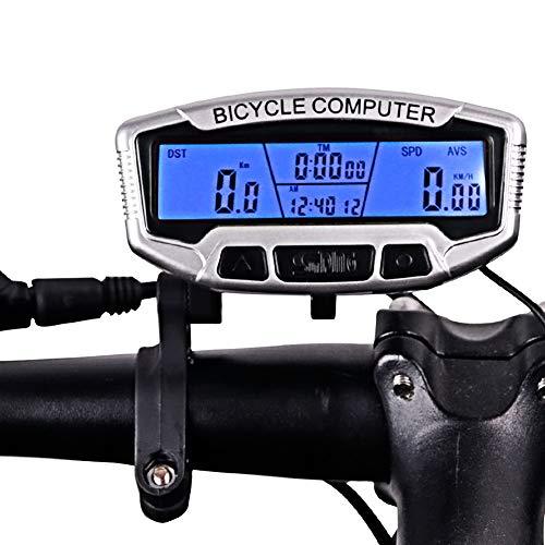 Lesrly-Cycle Fietscomputer met kabel, waterdichte multifunctionele kilometerteller voor de meeste fietsen buitenshuis, zilverkleurig