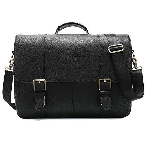 Men's Handbags Leather Large-Capacity Briefcase 15 inch Shoulder Computer Bag-Black
