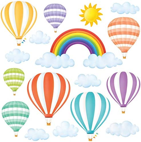 DECOWALL DWT 1801 Rainbow and Hot Air Balloons Kids Wall Stickers Wall Decals Peel and Stick product image